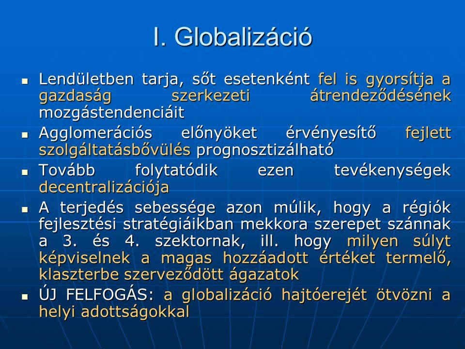 I. Globalizáció Lendületben tarja, sőt esetenként fel is gyorsítja a gazdaság szerkezeti átrendeződésének mozgástendenciáit.