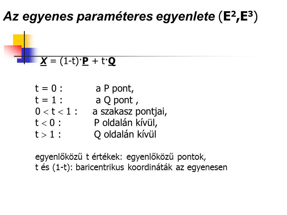 Az egyenes paraméteres egyenlete (E2,E3)