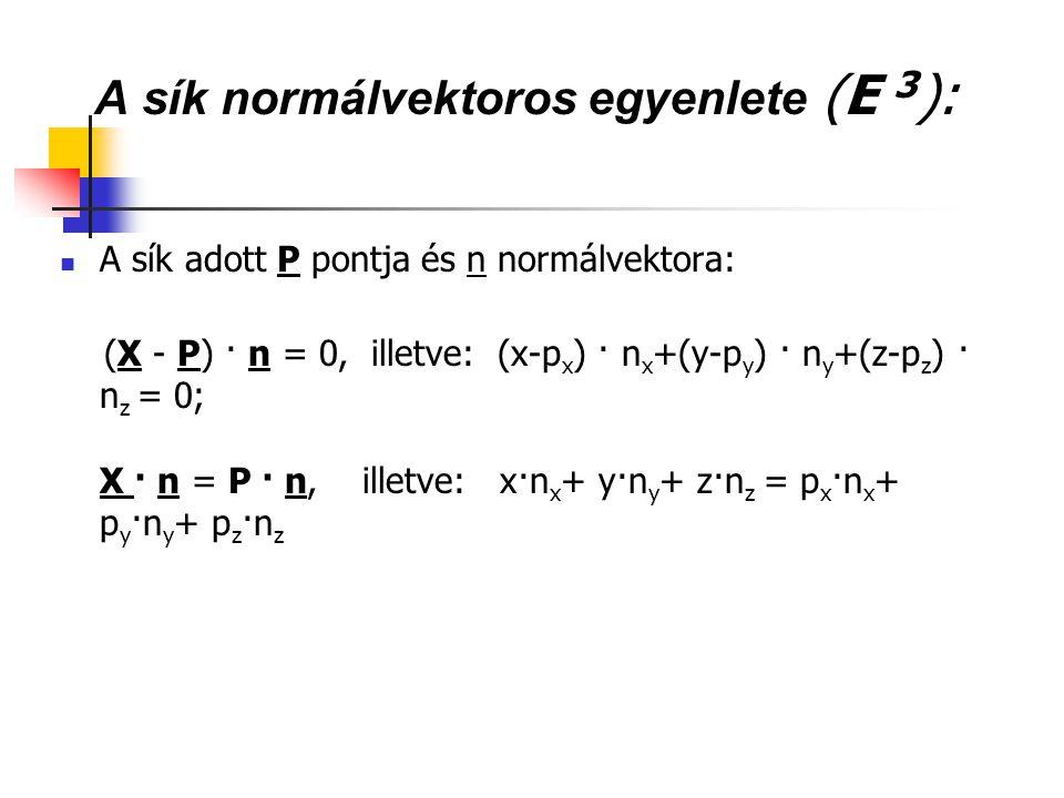A sík normálvektoros egyenlete (E 3):