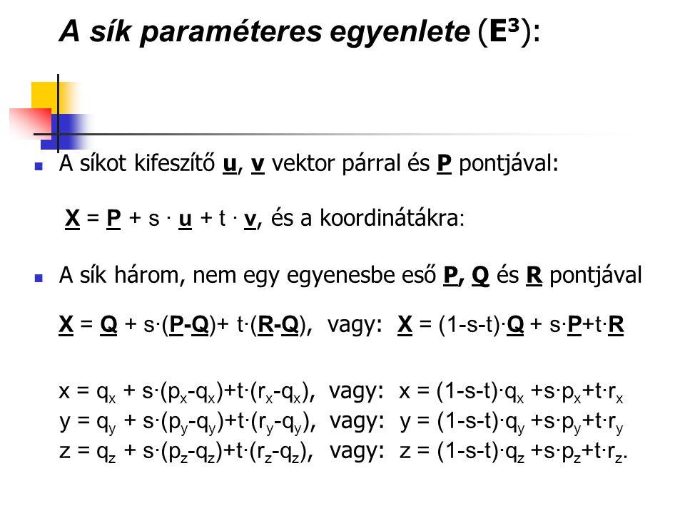 A sík paraméteres egyenlete (E3):