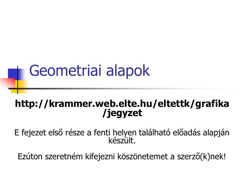 Geometriai alapok http://krammer.web.elte.hu/eltettk/grafika/jegyzet.