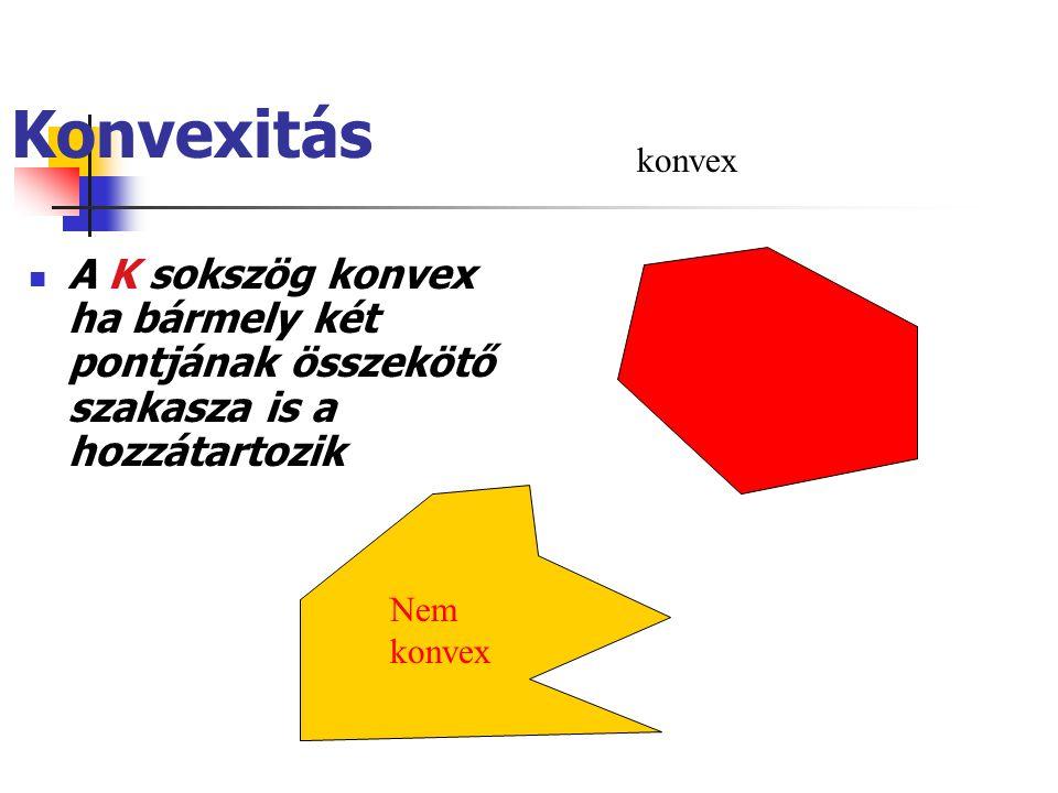 Konvexitás konvex. A K sokszög konvex ha bármely két pontjának összekötő szakasza is a hozzátartozik.