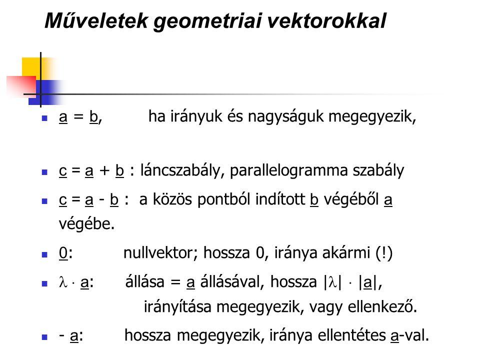 Műveletek geometriai vektorokkal
