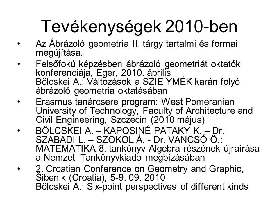 Tevékenységek 2010-ben Az Ábrázoló geometria II. tárgy tartalmi és formai megújítása.
