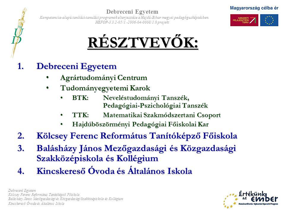 RÉSZTVEVŐK: Debreceni Egyetem