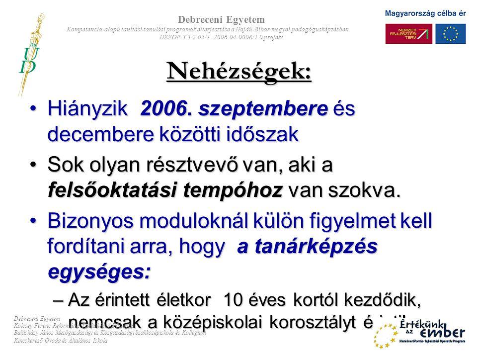 Nehézségek: Hiányzik 2006. szeptembere és decembere közötti időszak