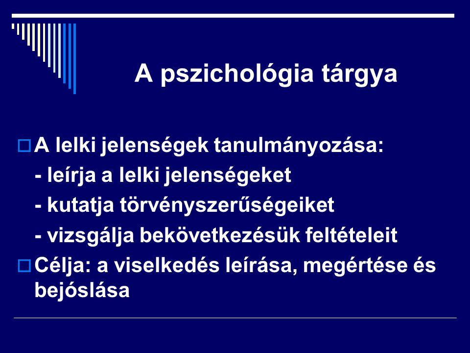 A pszichológia tárgya A lelki jelenségek tanulmányozása: