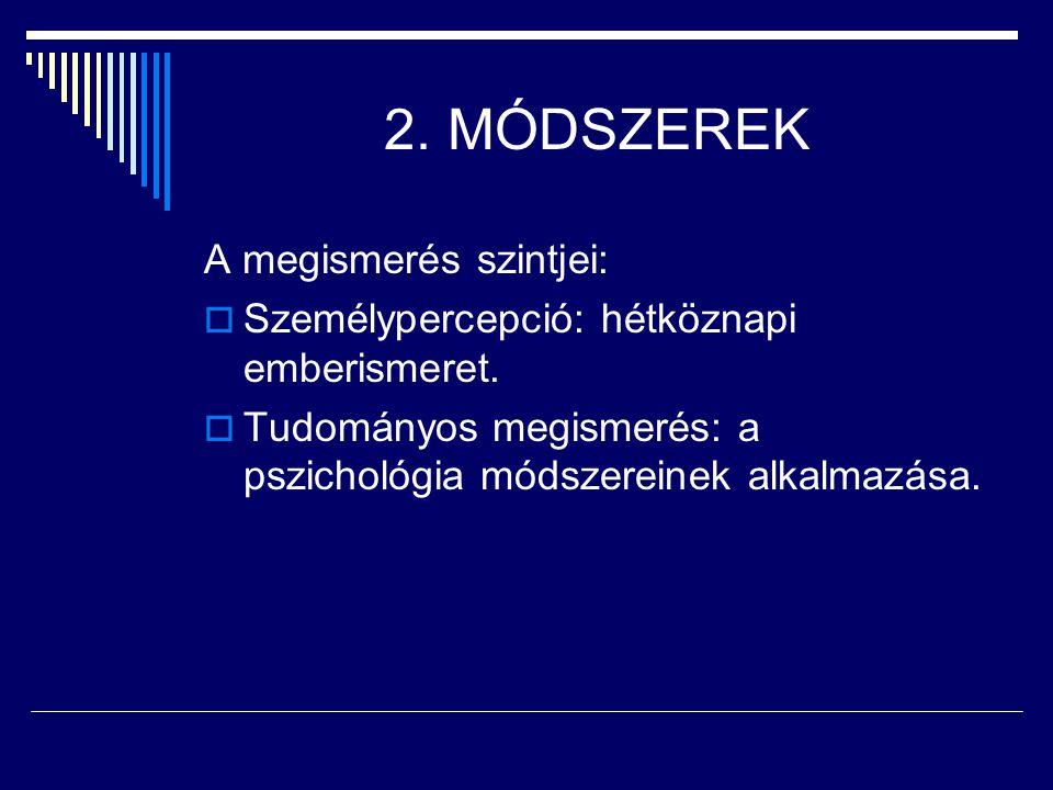 2. MÓDSZEREK A megismerés szintjei: