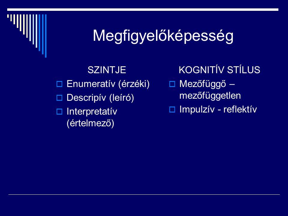 Megfigyelőképesség SZINTJE Enumeratív (érzéki) Descripív (leíró)
