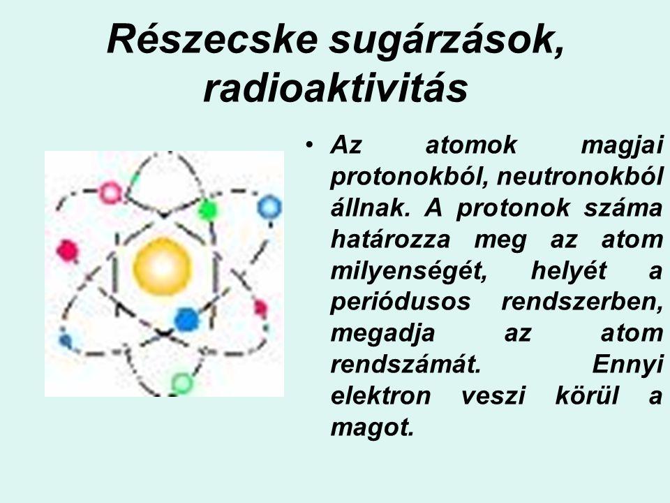 Részecske sugárzások, radioaktivitás