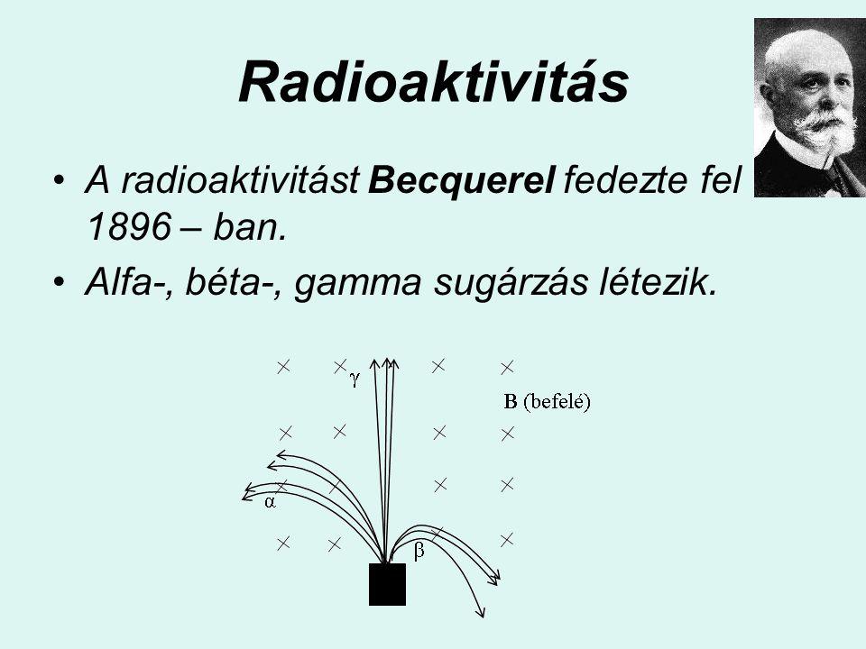 Radioaktivitás A radioaktivitást Becquerel fedezte fel 1896 – ban.