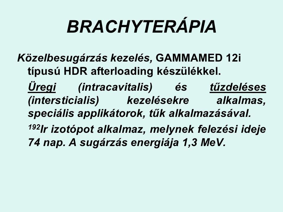 BRACHYTERÁPIA Közelbesugárzás kezelés, GAMMAMED 12i típusú HDR afterloading készülékkel.
