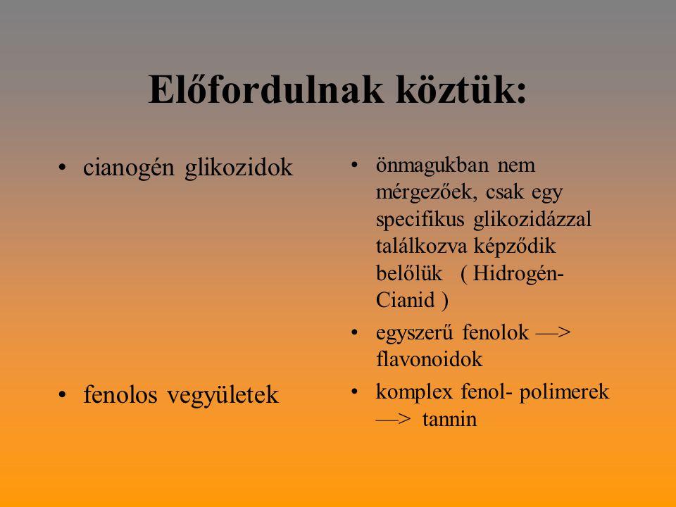 Előfordulnak köztük: cianogén glikozidok fenolos vegyületek
