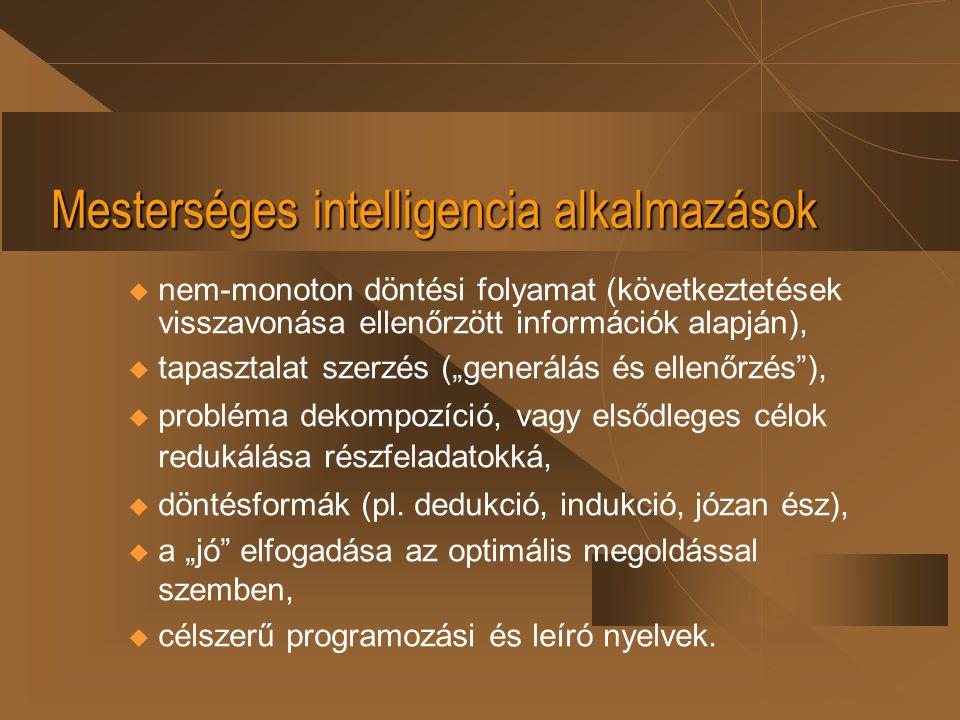 Mesterséges intelligencia alkalmazások
