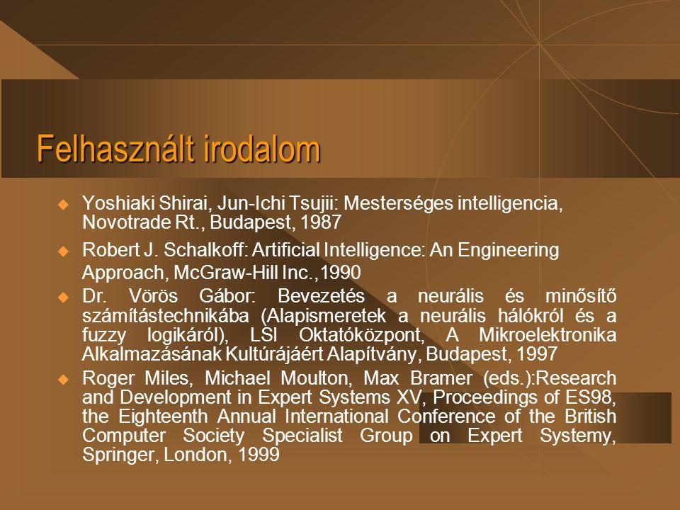 Felhasznált irodalom Yoshiaki Shirai, Jun-Ichi Tsujii: Mesterséges intelligencia, Novotrade Rt., Budapest, 1987.