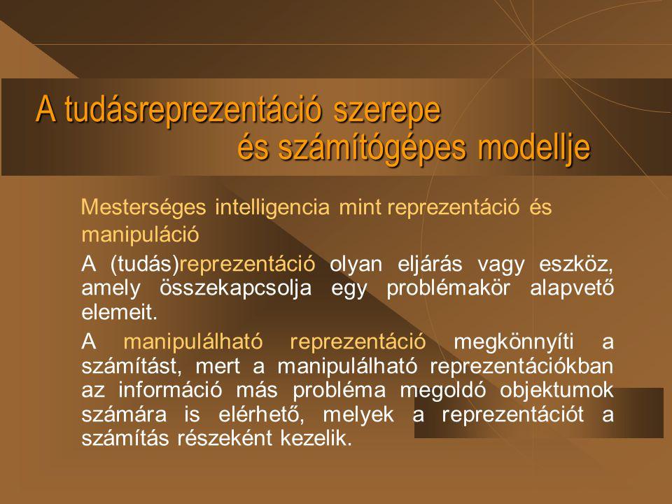A tudásreprezentáció szerepe és számítógépes modellje