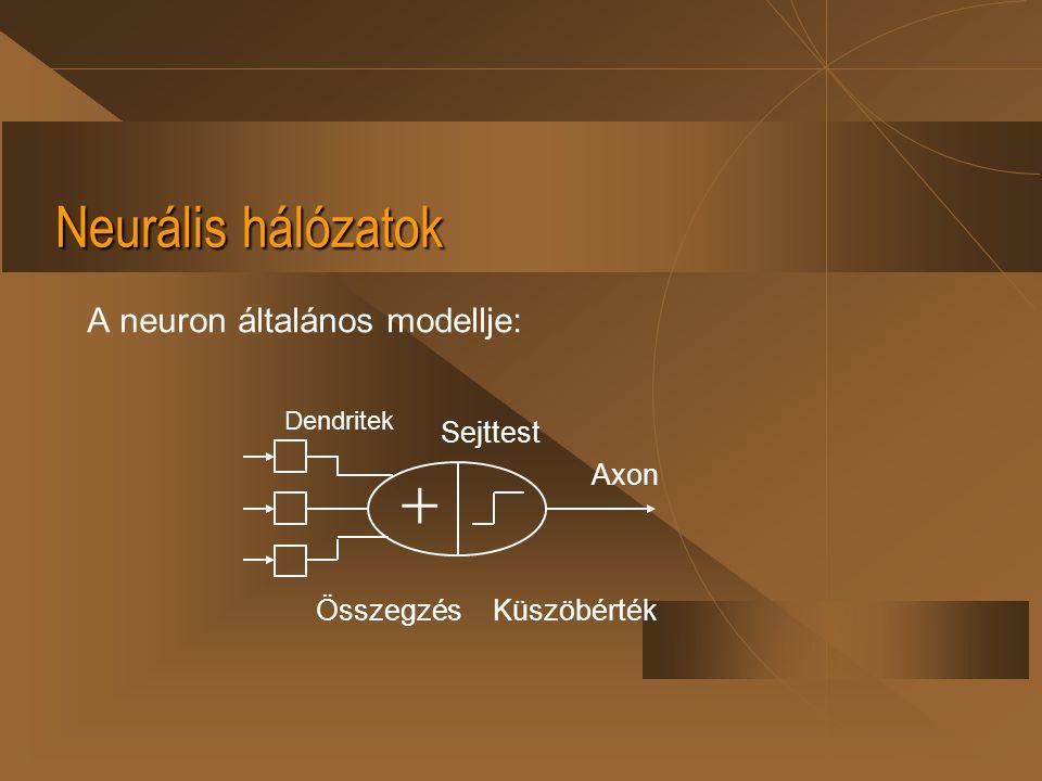  Neurális hálózatok A neuron általános modellje: Sejttest Összegzés