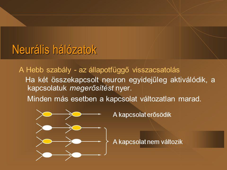 Neurális hálózatok A Hebb szabály - az állapotfüggő visszacsatolás