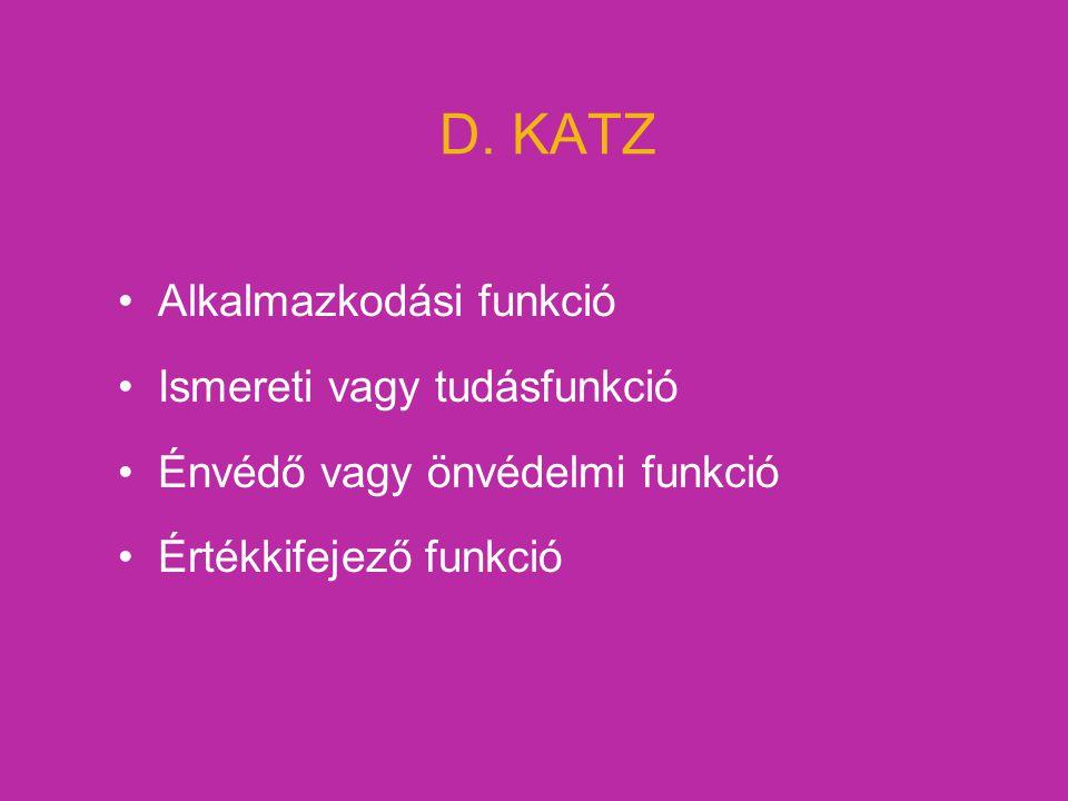 D. KATZ Alkalmazkodási funkció Ismereti vagy tudásfunkció