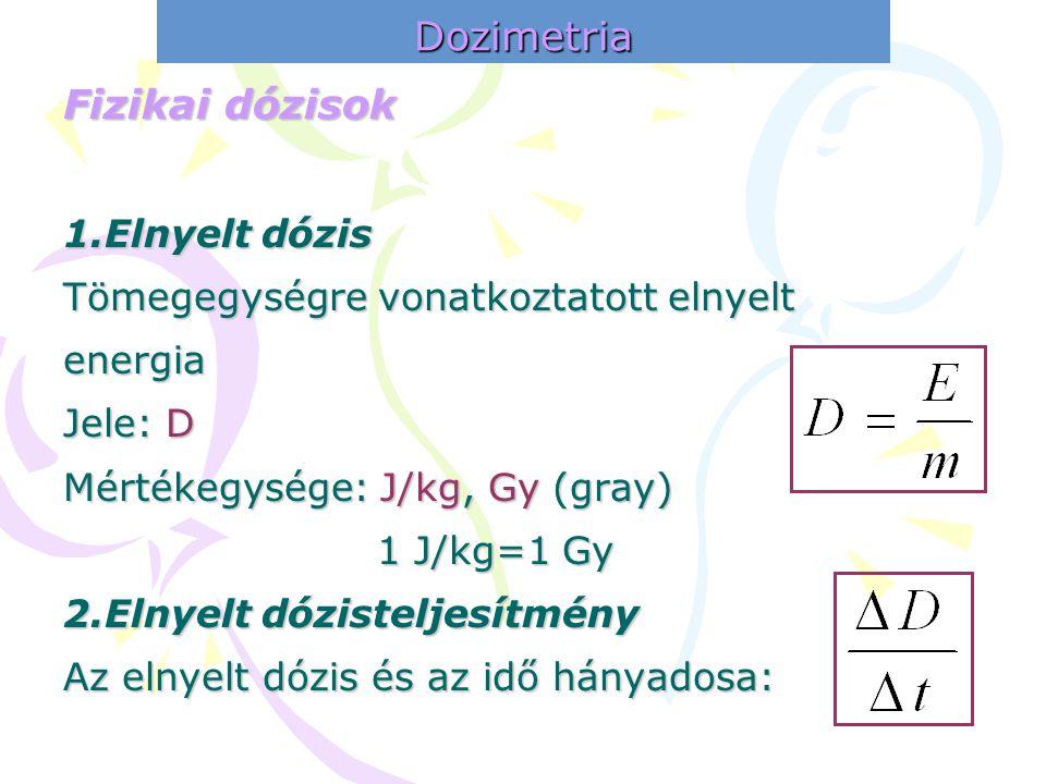 Dozimetria Fizikai dózisok 1.Elnyelt dózis