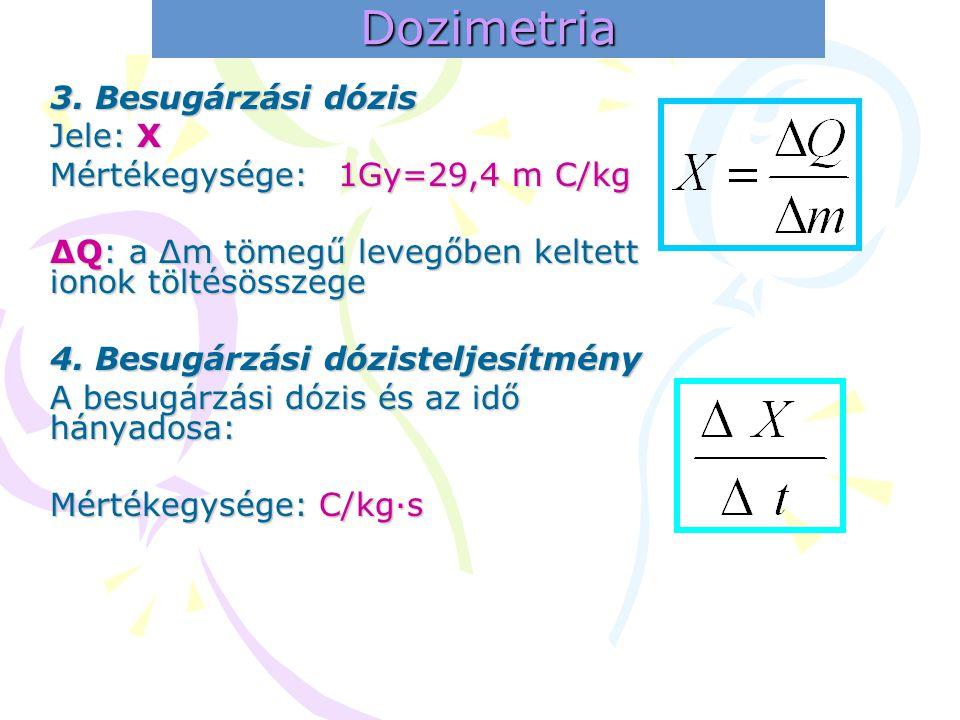 Dozimetria 3. Besugárzási dózis Jele: X Mértékegysége: 1Gy=29,4 m C/kg