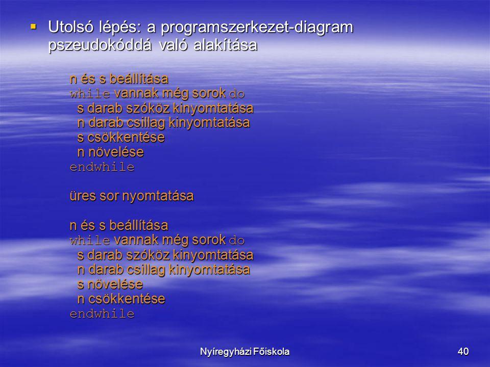 Utolsó lépés: a programszerkezet-diagram pszeudokóddá való alakítása