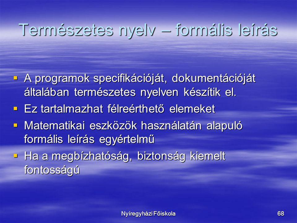 Természetes nyelv – formális leírás
