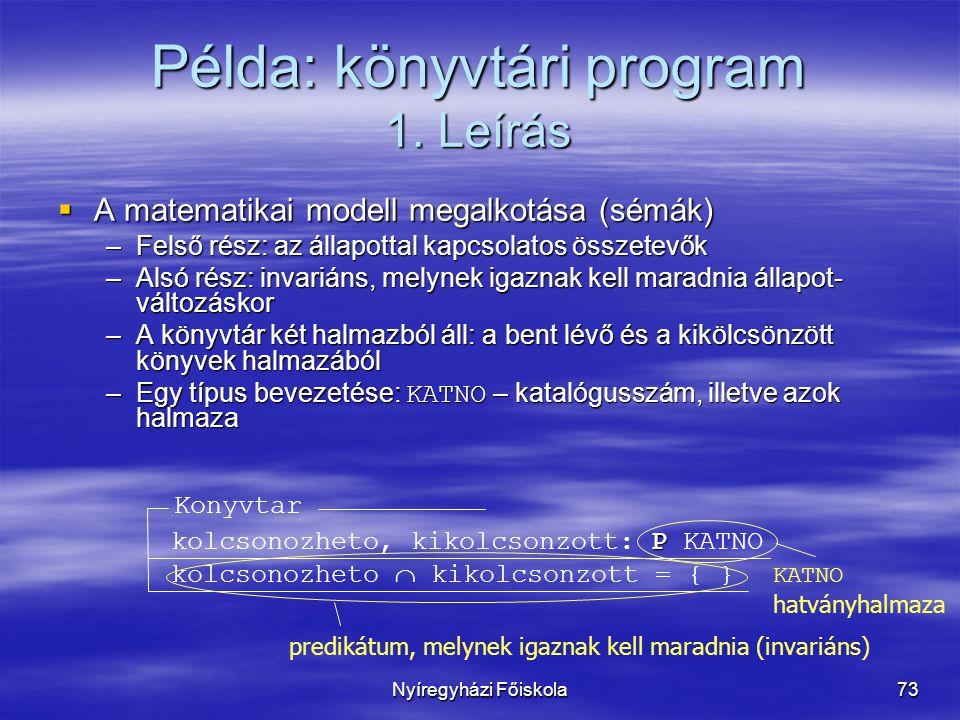 Példa: könyvtári program 1. Leírás