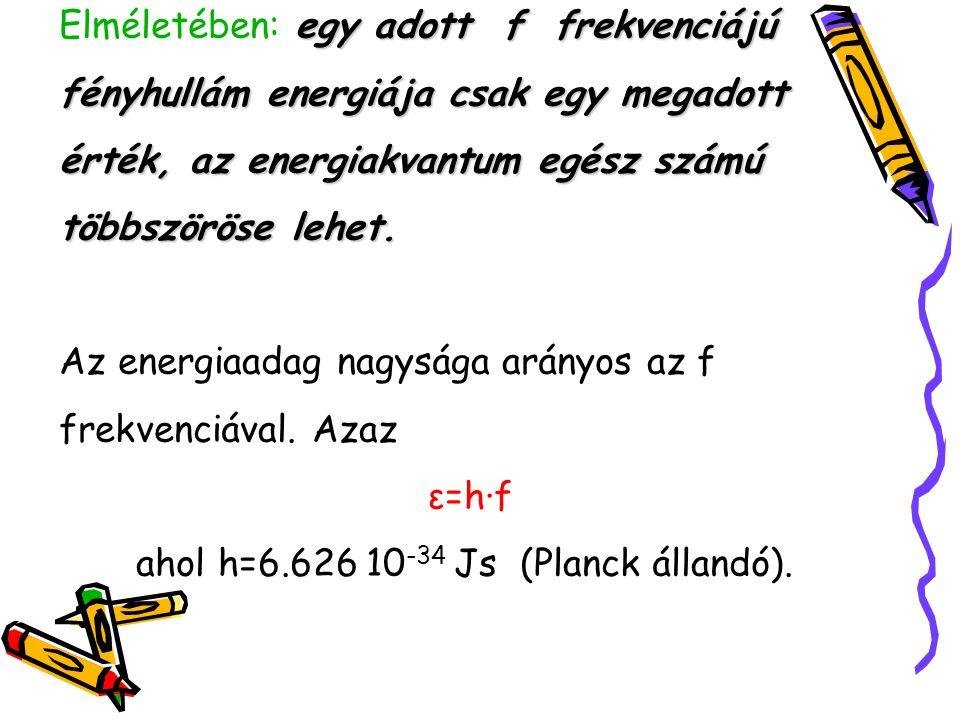 ε=h∙f ahol h=6.626 10-34 Js (Planck állandó).
