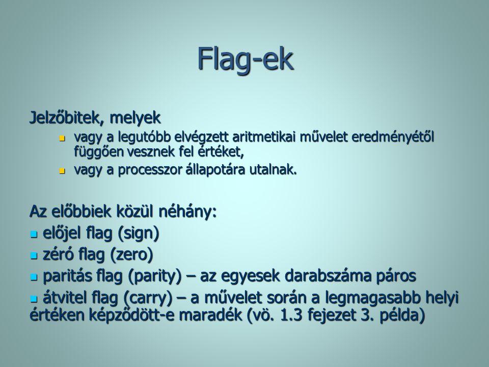 Flag-ek Jelzőbitek, melyek Az előbbiek közül néhány: