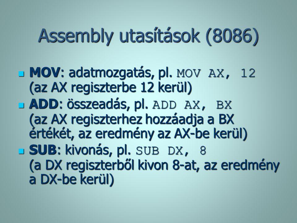Assembly utasítások (8086)