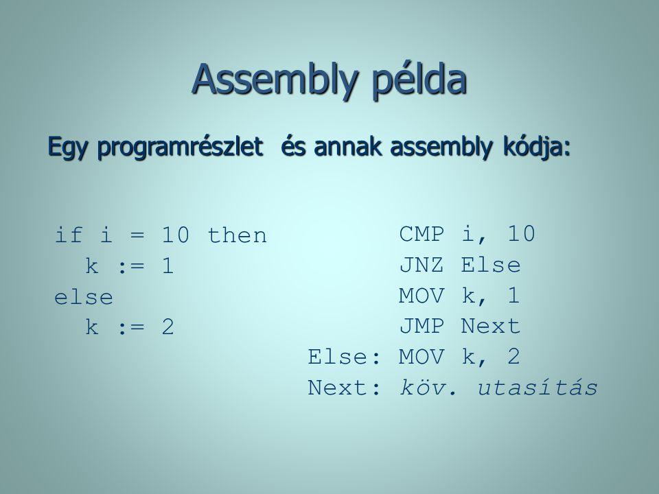 Assembly példa Egy programrészlet és annak assembly kódja: