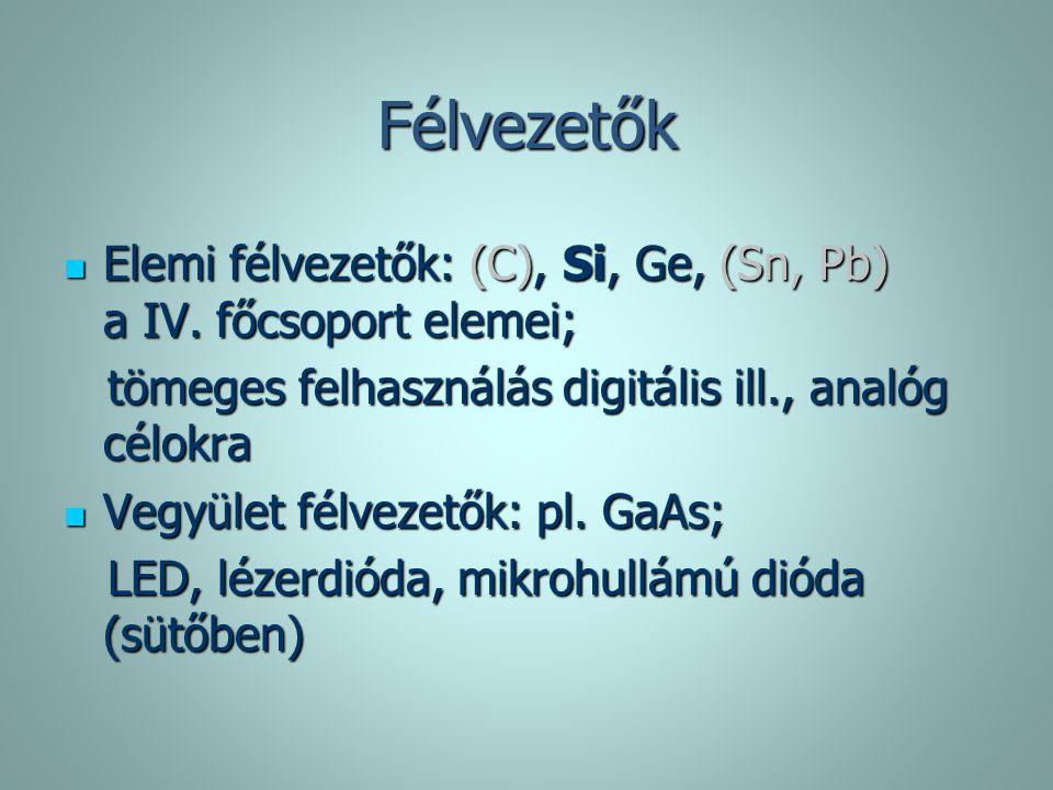 Félvezetők Elemi félvezetők: (C), Si, Ge, (Sn, Pb) a IV. főcsoport elemei; tömeges felhasználás digitális ill., analóg célokra.