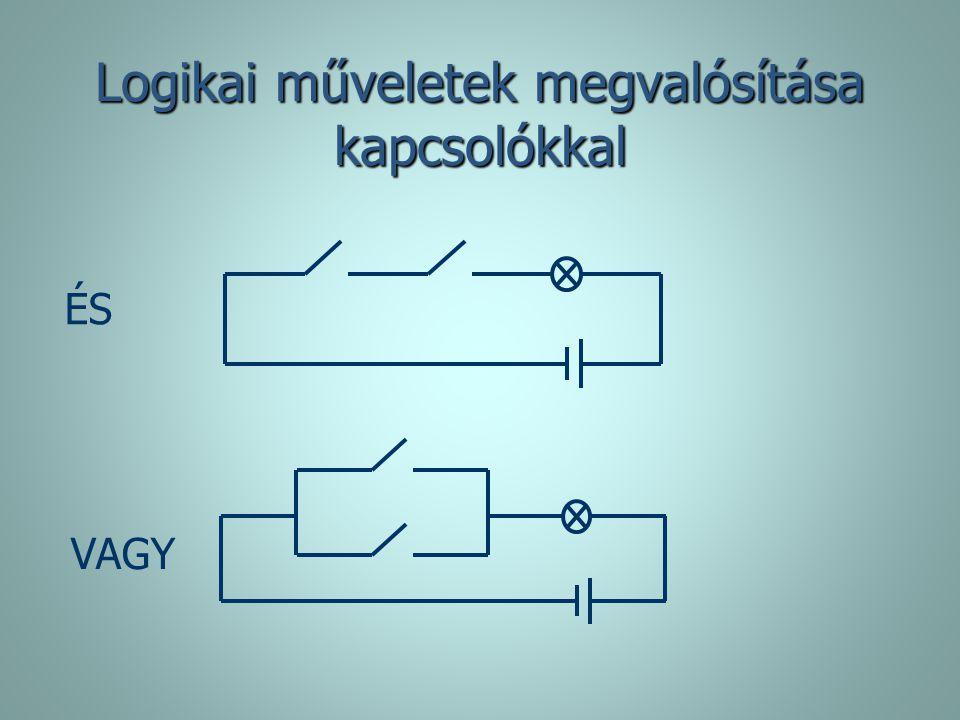 Logikai műveletek megvalósítása kapcsolókkal