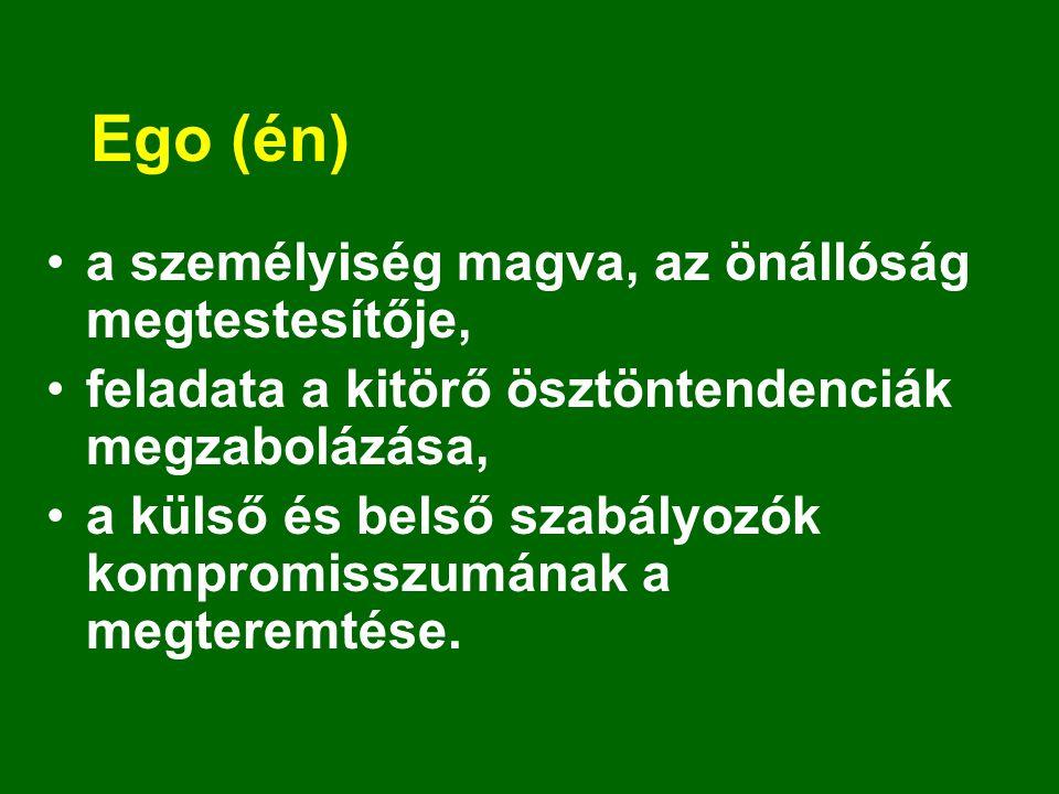 Ego (én) a személyiség magva, az önállóság megtestesítője,