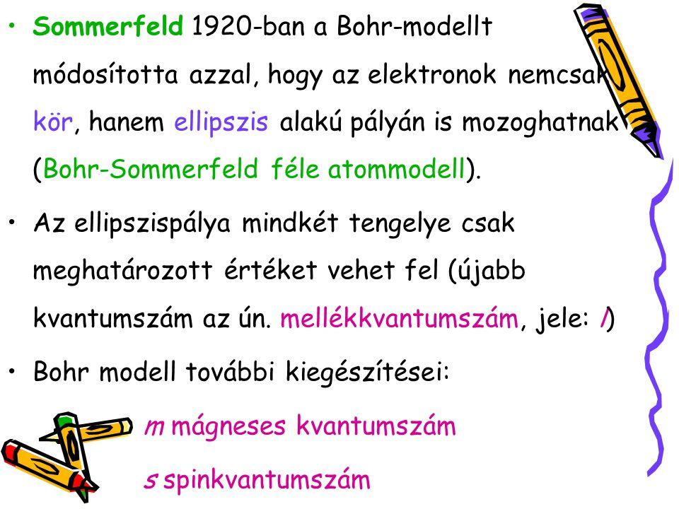 Sommerfeld 1920-ban a Bohr-modellt módosította azzal, hogy az elektronok nemcsak kör, hanem ellipszis alakú pályán is mozoghatnak (Bohr-Sommerfeld féle atommodell).