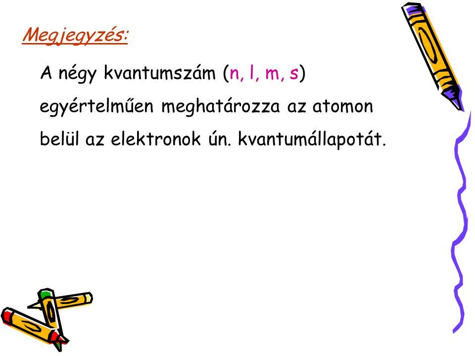 Megjegyzés: A négy kvantumszám (n, l, m, s) egyértelműen meghatározza az atomon belül az elektronok ún.
