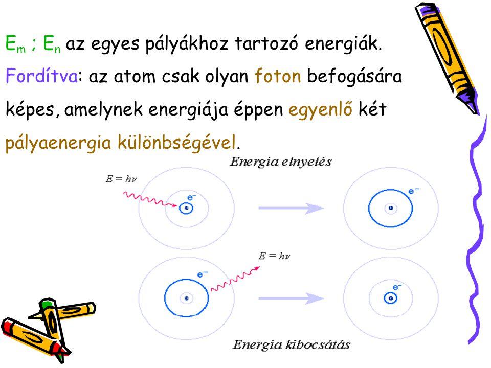 Em ; En az egyes pályákhoz tartozó energiák