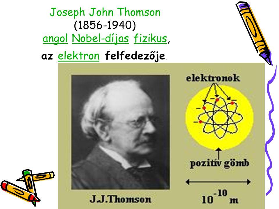 Joseph John Thomson (1856-1940) angol Nobel-díjas fizikus, az elektron felfedezője.