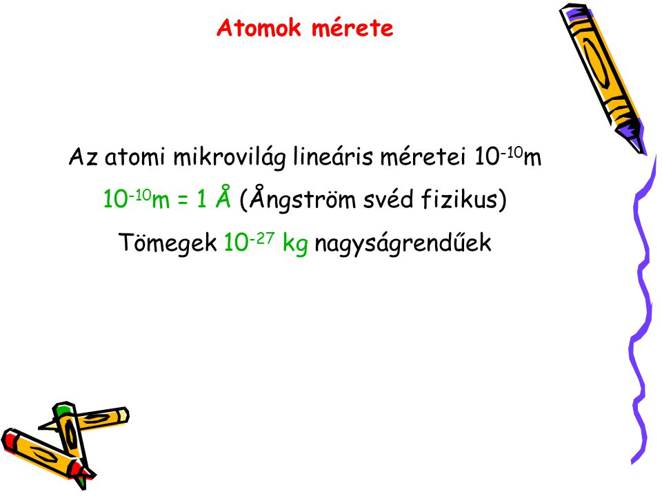 Az atomi mikrovilág lineáris méretei 10-10m
