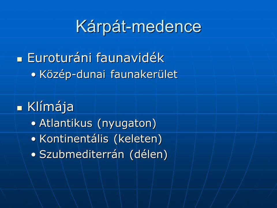 Kárpát-medence Euroturáni faunavidék Klímája Közép-dunai faunakerület