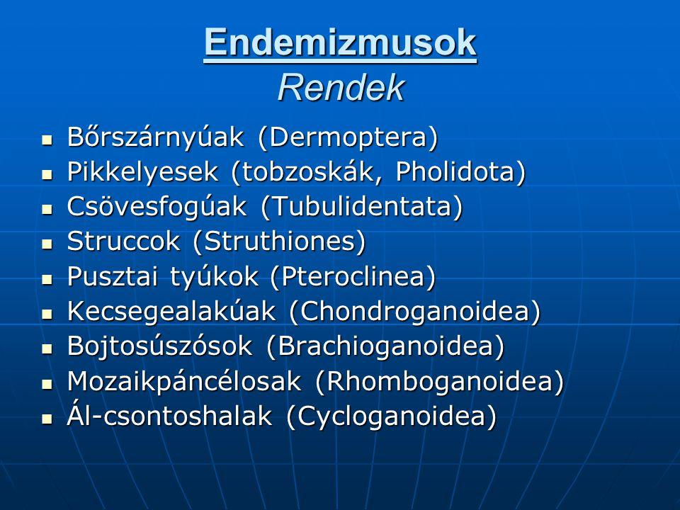 Endemizmusok Rendek Bőrszárnyúak (Dermoptera)