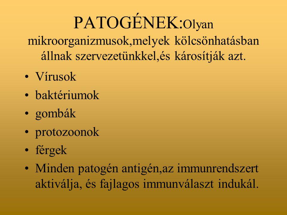 PATOGÉNEK:Olyan mikroorganizmusok,melyek kölcsönhatásban állnak szervezetünkkel,és károsítják azt.