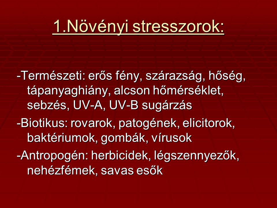1.Növényi stresszorok: -Természeti: erős fény, szárazság, hőség, tápanyaghiány, alcson hőmérséklet, sebzés, UV-A, UV-B sugárzás.