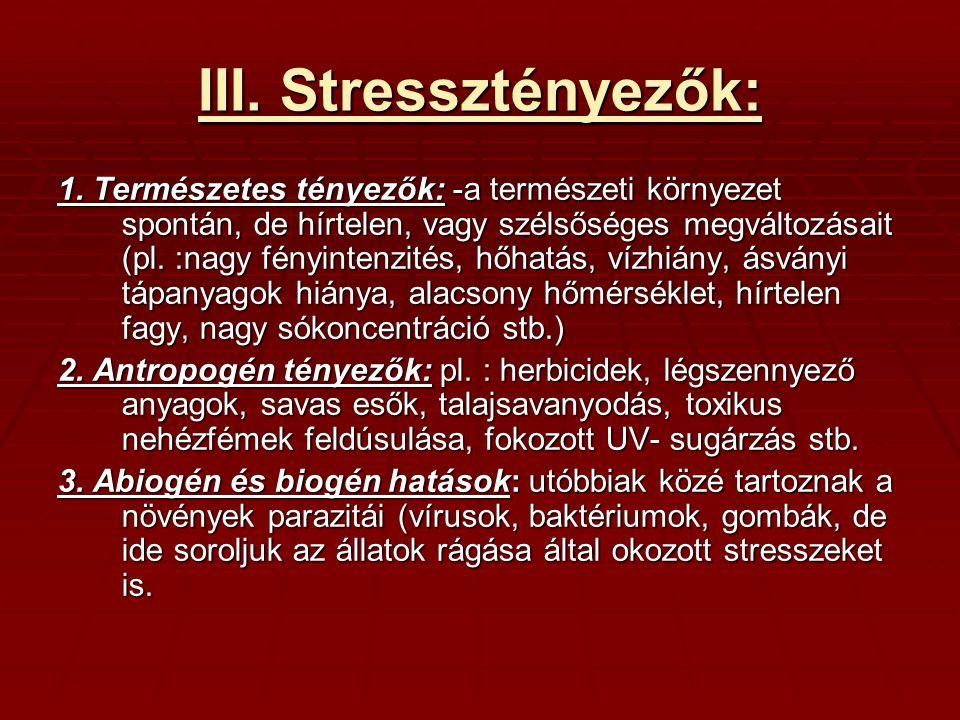 III. Stressztényezők: