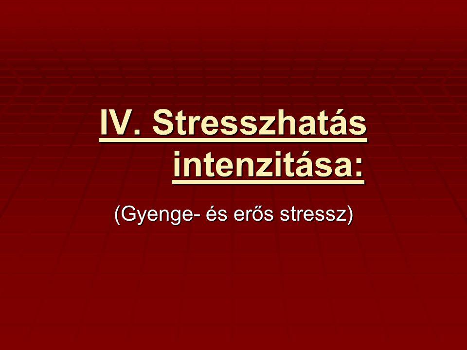 IV. Stresszhatás intenzitása: