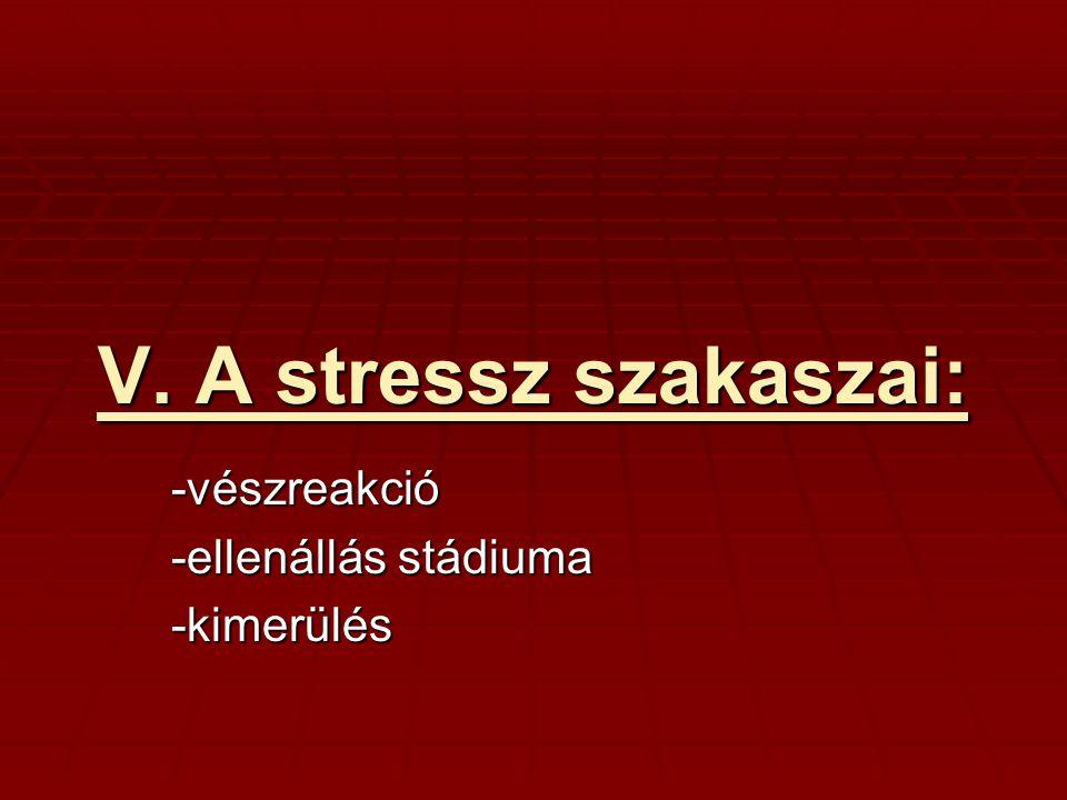-vészreakció -ellenállás stádiuma -kimerülés