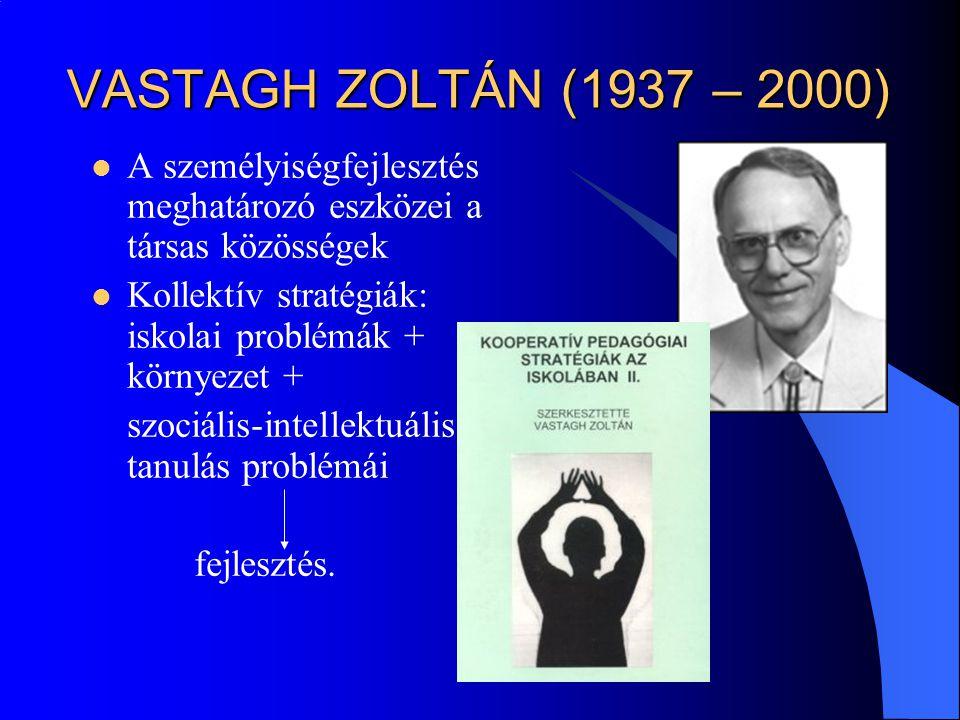 VASTAGH ZOLTÁN (1937 – 2000) A személyiségfejlesztés meghatározó eszközei a társas közösségek. Kollektív stratégiák: iskolai problémák + környezet +