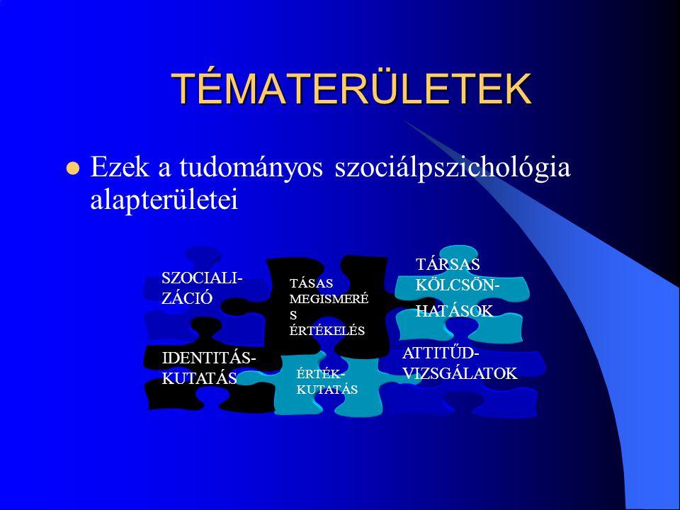 TÉMATERÜLETEK Ezek a tudományos szociálpszichológia alapterületei