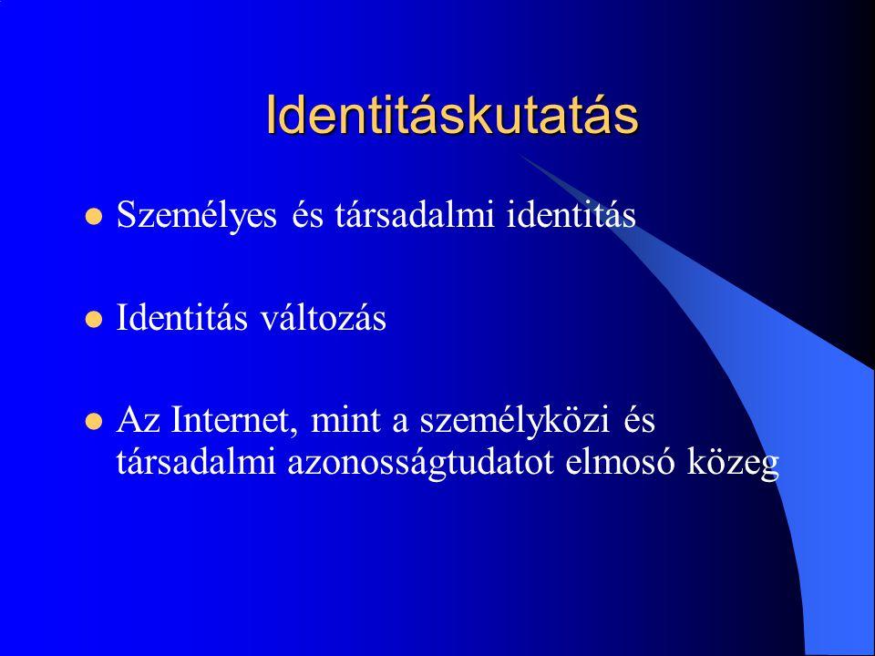 Identitáskutatás Személyes és társadalmi identitás Identitás változás